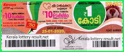 Kerala Lottery Result 25-01-2020 Karunya KR-432 (keralalotteryresult.net)