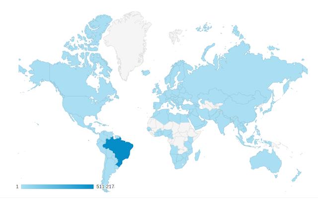 Acessos mundiais ao Diolinux em Junho de 2017