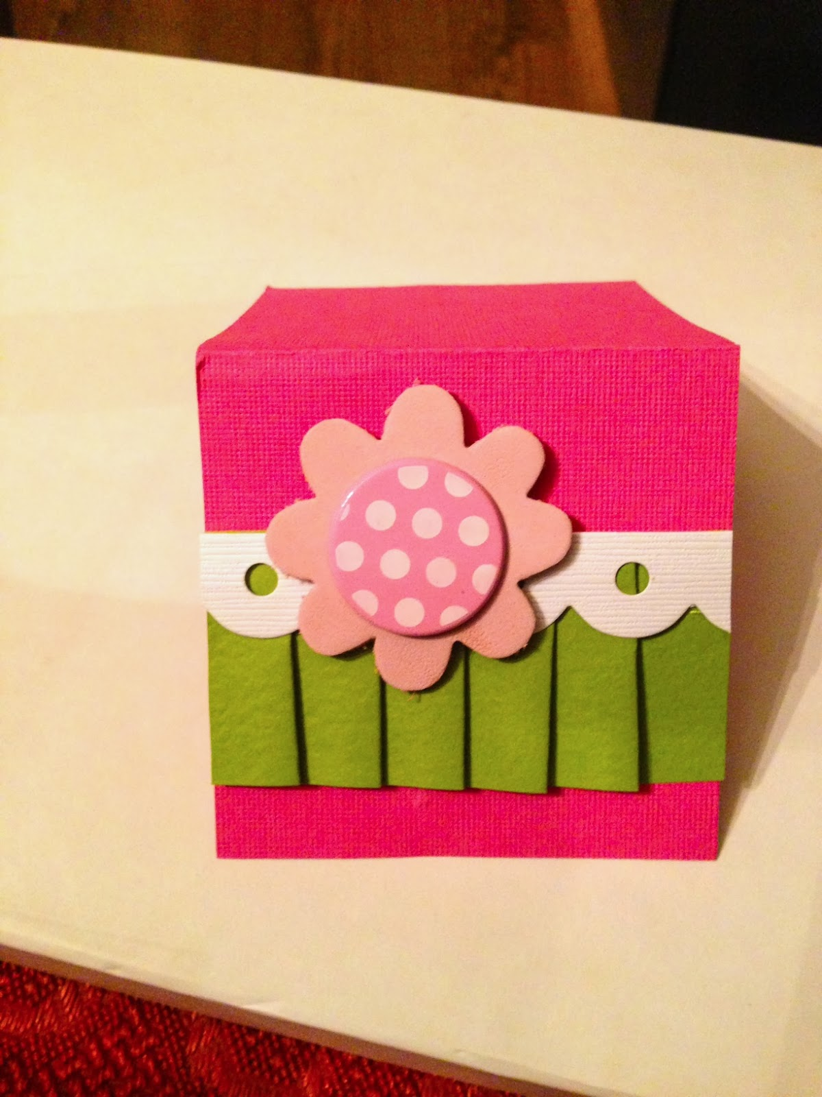 cardstock shaped border pleated border bazzill leather flower very old i think making memories and the polka dot brad is old also in my stash