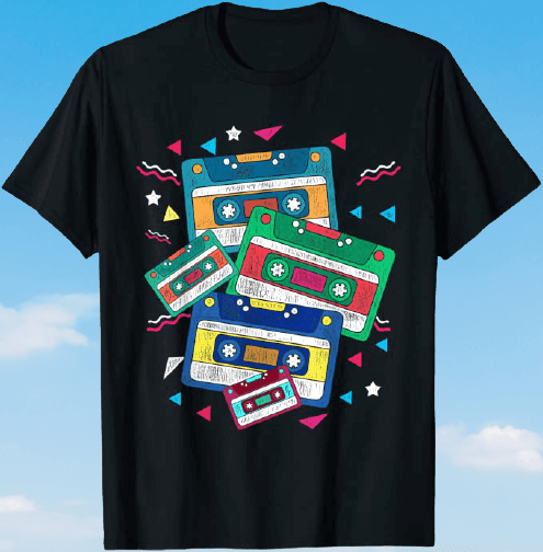 Black T-shirt with multi-coloured cassettes and geometric 80s shapes