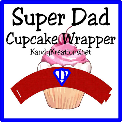 Your dad is super so why not show him with these free cupcake wrapper printables?  With a red and blue Super dad design, your dad will be thrilled knowing he's your hero!