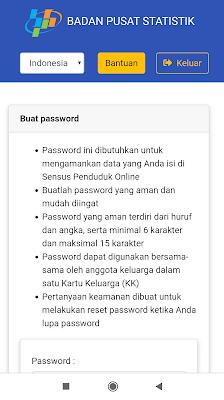 Pembuatan Password di Sensus Penduduk Online 2020