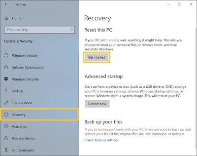 Menu recovery Windows 10