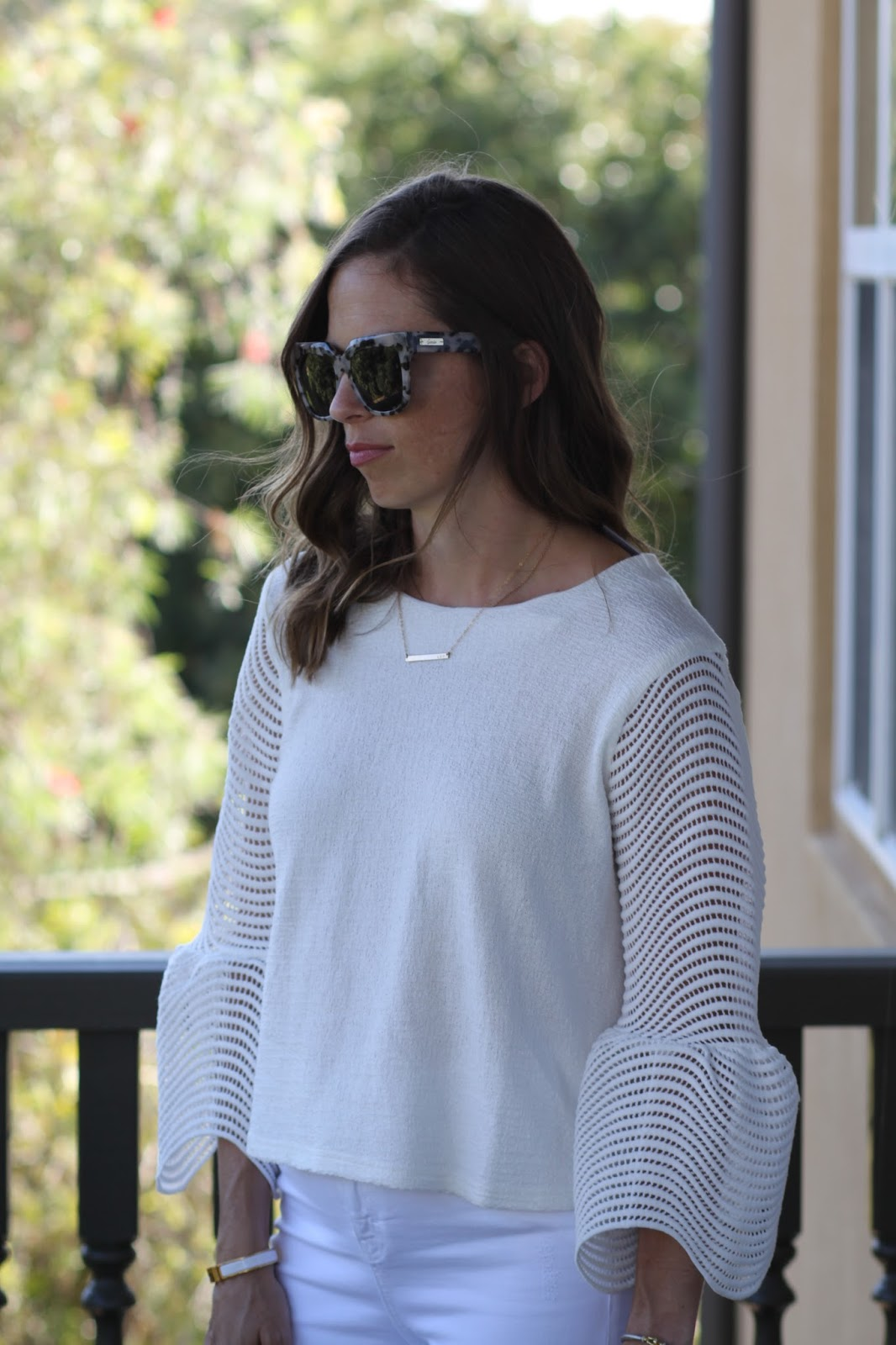 white bell sleeve top