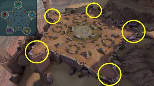 Map của đấu trường thọ tử có dạng ngũ giác, với mỗi team chơi bị đẩy về một góc của bản đồ khi cuộc đấu mới hoạt động