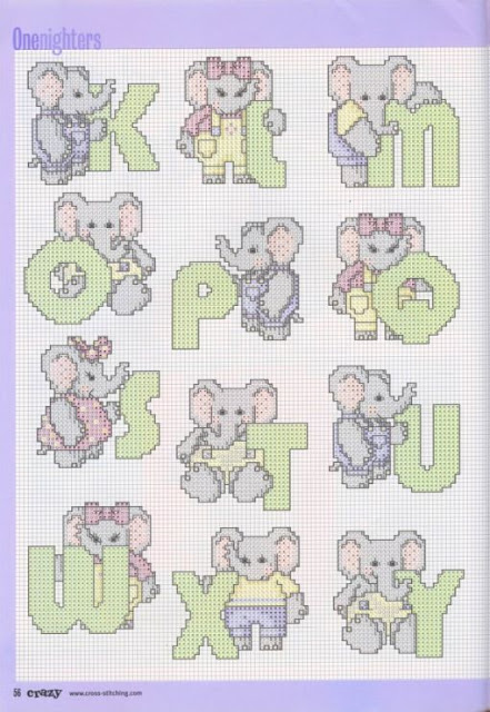 Alfabeto de Elefantes para Punto de Cruz.
