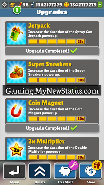 Subway Surfers Full Upgrades Jetpack, Super Sneakers, Coin Magnet, 2x Multiplier