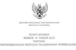 Format RPP Terbaru sesuai dengan Surat Edaran Mendikbud Nomor 14 Tahun 2019