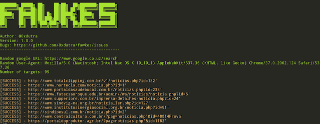 Fawkes – Tool To Search For Targets Vulnerable To SQL Injection (Performs The Search Using Google Search Engine)