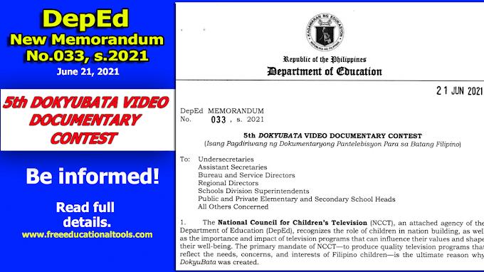 DepEd New Memorandum No. 033 (5th DokyuBata Video Documentary Contest)