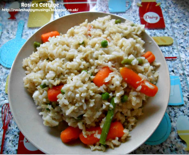 For a different serving suggestion why not combine some lovely vegetables with the rice and flaked fish? Delicious!