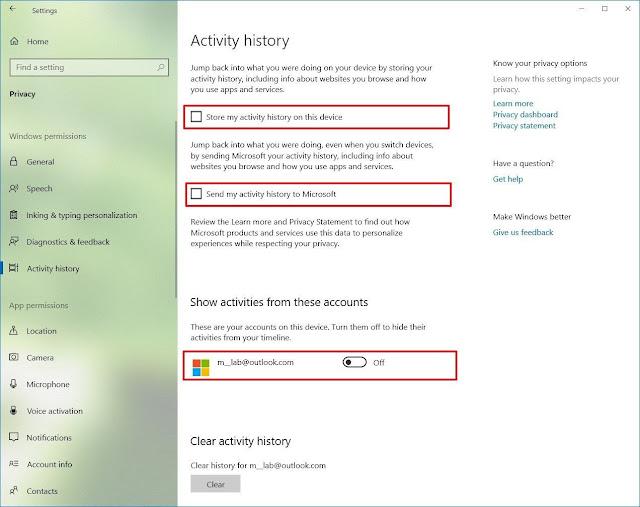 Cara menonaktifkan Timeline di Windows 10