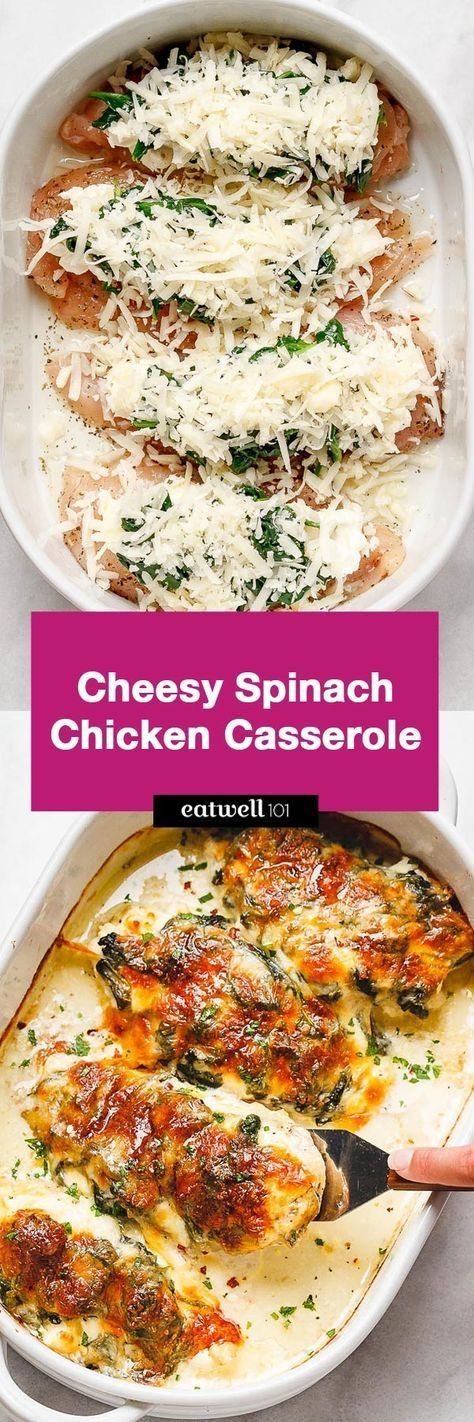 Spinach Chicken Casserole with Cream Cheese and Mozzarella Recipe