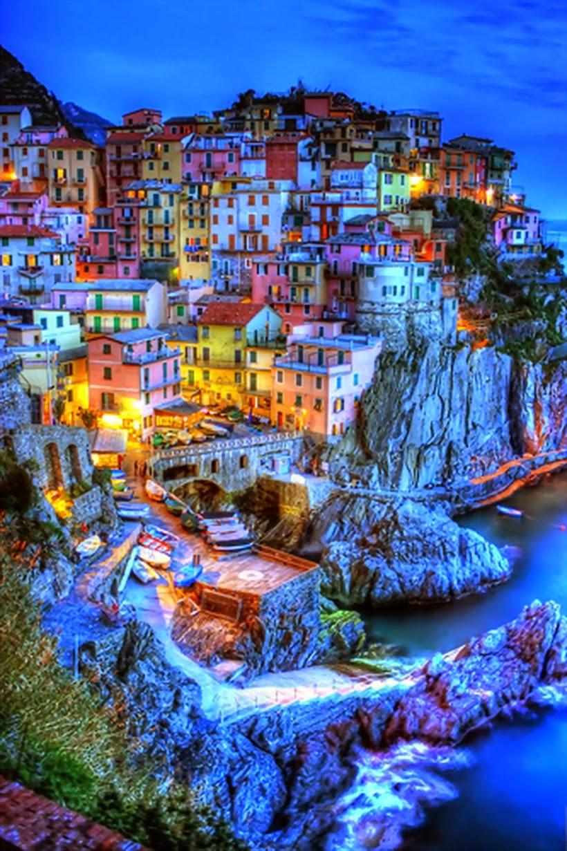 Night view of Cinque Terre, RioMaggiore, Italy