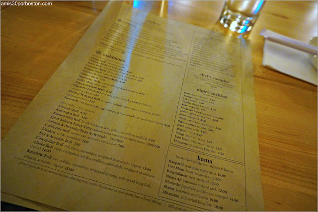 Carta de Café Sushi en Cambridge, Massachusetts