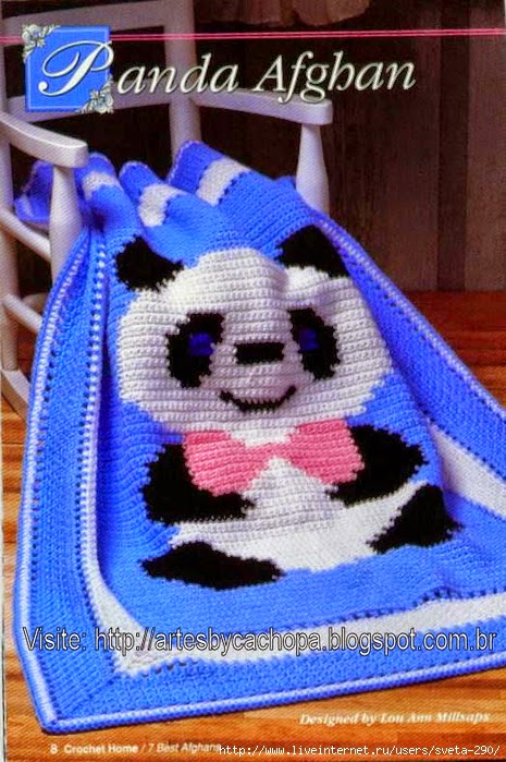 Manta afgana oso panda al crochet