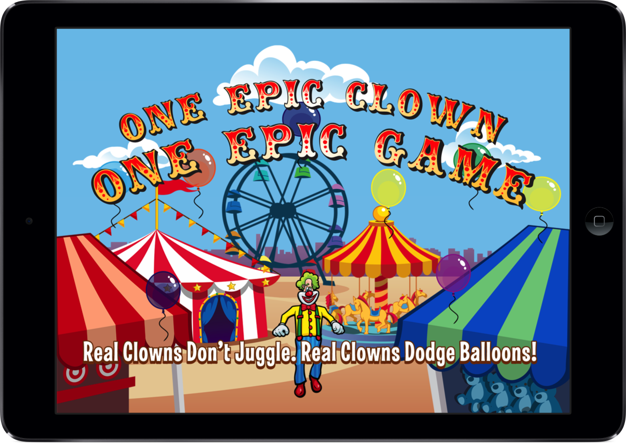'One Epic Clown One Epic Game' annotated screenshot on iPad Air.