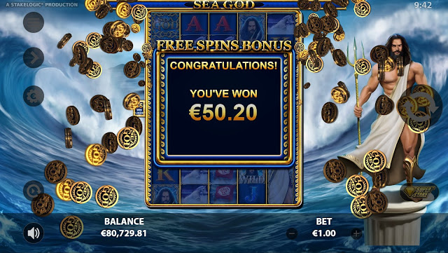 Free Spins Bonus Game Feature in Sea God by Reflex Gaming