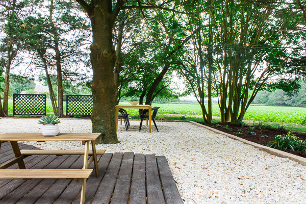Gravel patio pathway and floating deck