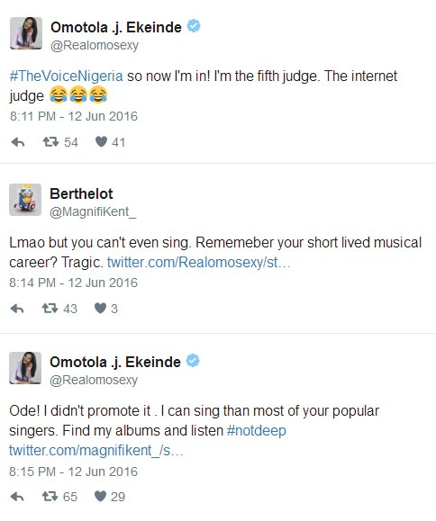 Omotola and her follower exchange angry words over her music career