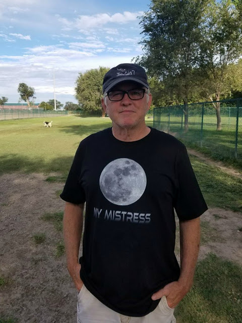 "Artist and designer James W. Allmon wearing his   own design - the Heinlein inspired ""My Mistress"" T-Shirt"