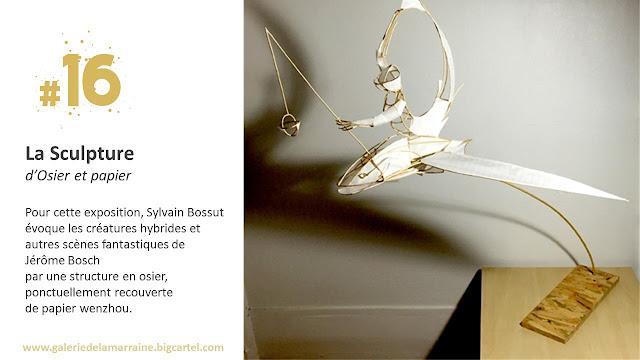 """Sculpture ailée de Sylvain Bossut - La Galerie de la Marraine - exposition """"d'Inspiration Jérôme Bosch"""""""
