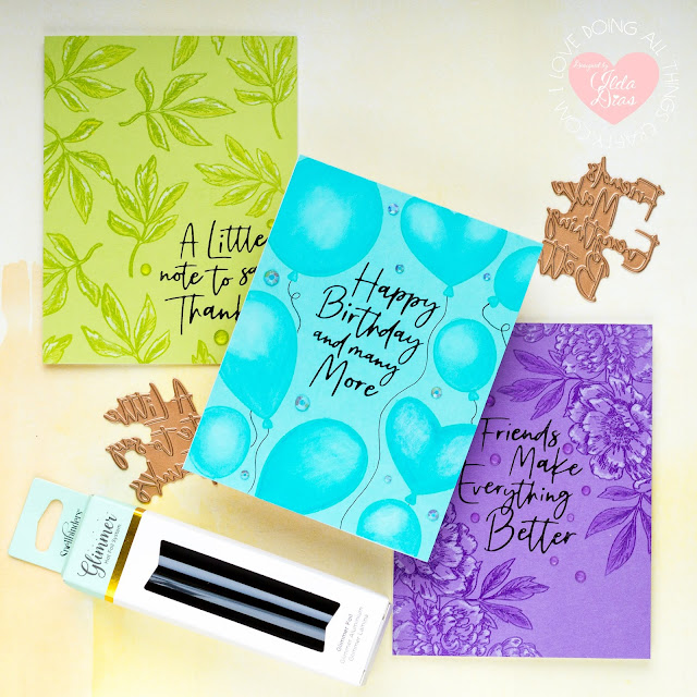 Simple Monochromatic Glimmer Foiled Sentiment Cards | Spellbinders June Glimmer Hot Foil Kit of the Month