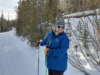 Exterior winter, lady smiling on cross country skis