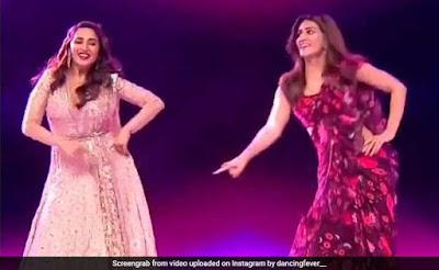 Madhuri Dixit and Kriti Sanon showed tremendous dance on the song Bina Payal Ke Hi Baje Ghungroo