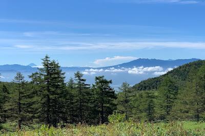 池の平湿原から見える富士山と八ヶ岳