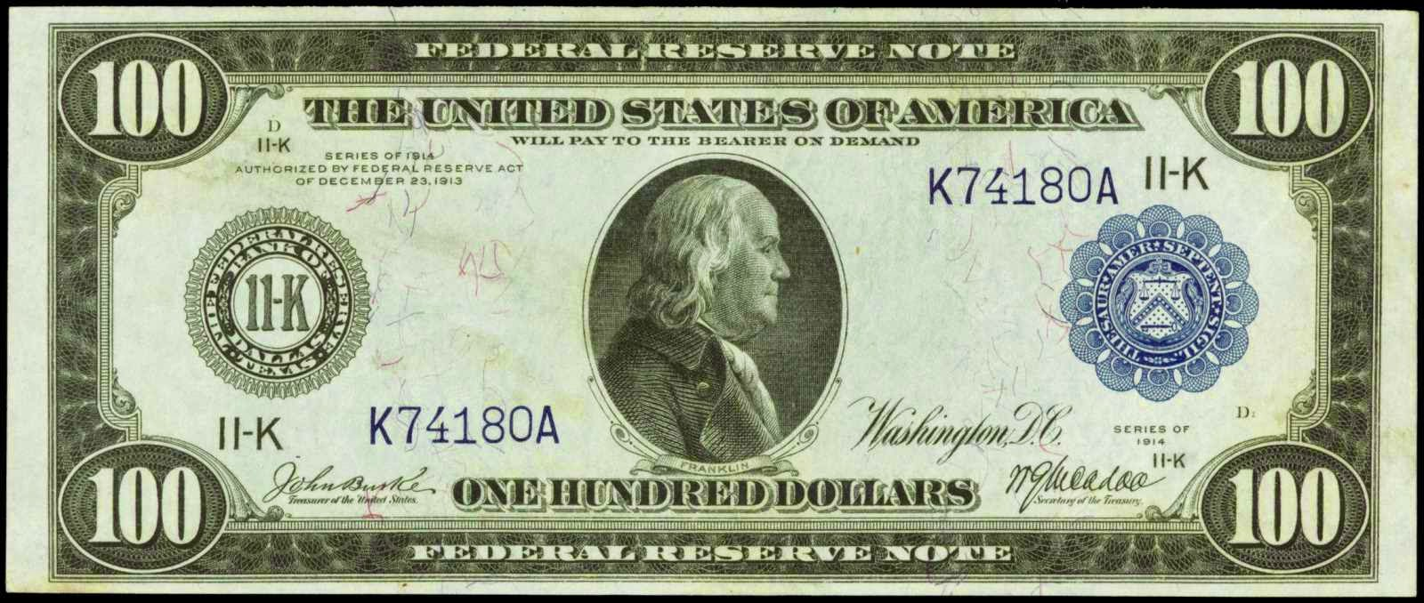 Large Size US Paper Money 1914 One Hundred Dollar Federal Reserve Note
