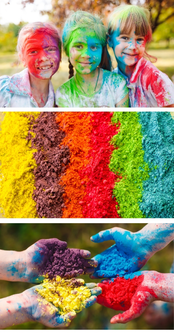Make your own colored powder using this easy recipe!  Paint powder is great for color fights, gender reveals, kids crafts, and more!  #homemadepowderedpaint #homemadepaintpowder #colorfight #colorfightpowder #colorfightpowderdiy #diycolorpowder #colorrun #holipowder #holipowderdiy #holipowdergenderreveal #growingajeweledrose #activitiesforkids