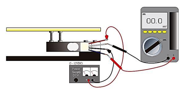 Mengukur tegangan luaran sensor Load Cell