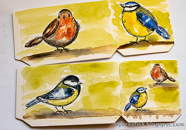 Layers of ink - DIY Watercolor Birds Pen Holder by Anna-Karin Evaldsson. Watercolor the background.