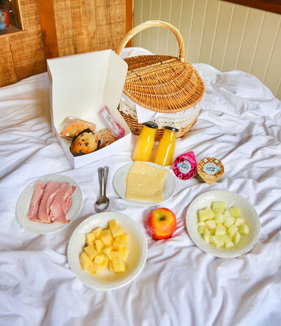Breakfast Delivered in the Shepherd's Hut at Parkway Hotel and Spa Cwmbran, South Wales