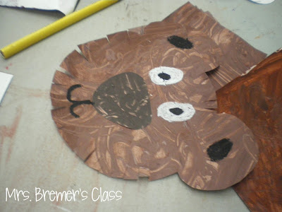 Back to school art craftivity, Brown Bear art craftivity, color mixing art, class pennant art craftivity