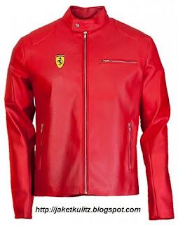 Gambar Jaket Kulit Ferrari Warna Merah