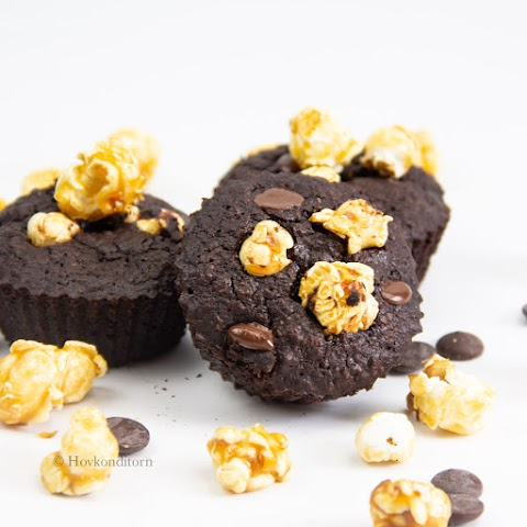 Oat Chocolate Popcorn Brownie Muffins
