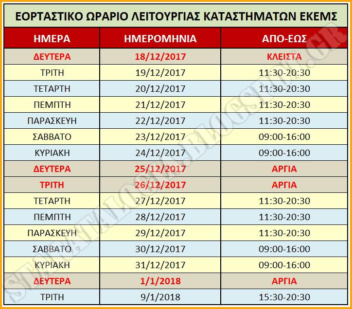 e0a95d7c5944 Εορταστικό Ωράριο Στρατιωτικών Καταστημάτων (ΕΚΕΜΣ