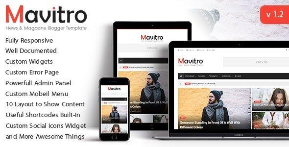 Mavitro Paid Version Blogger Template Free Download.