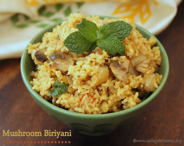 images of Mushroom Biryani / Mushroom Biriyani Recipe / South Indian Mushroom Biryani Recipe  - Biriyani Recipes