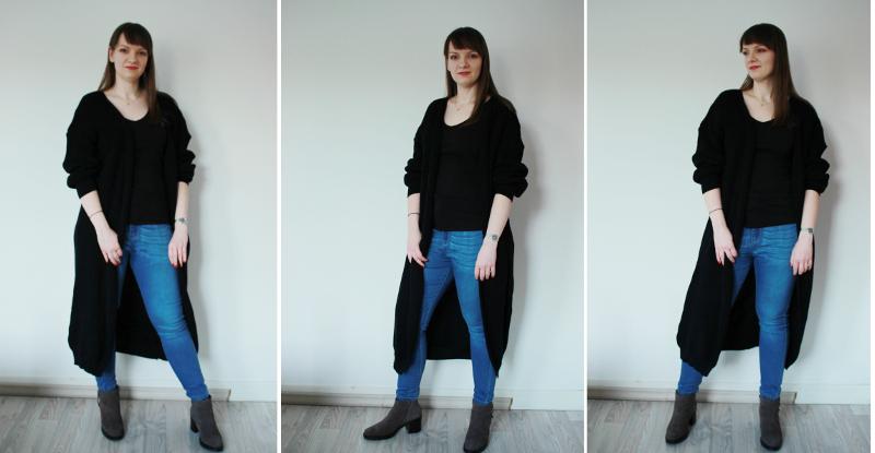 long black cardigan femme luxe