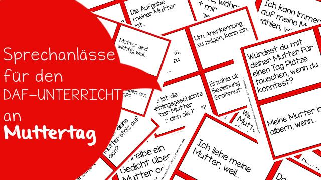 Karten mit verchiedenen Sprechanlässen zum Thema Muttertag für die Gesprächsförderung im DaF-Unterricht.