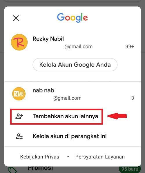 menu untuk tambahkan akun email baru