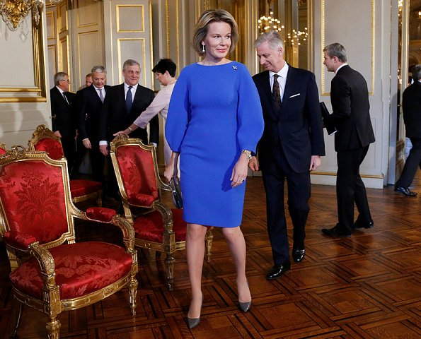 Queen Mathilde wore Natan dress for New Year's Reception of the European Union, wore gold earrings