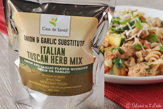 Low-FODMAP Tuscan Turkey Pasta made with Casa de Sante Herb Mix  /  Delicious as it Looks