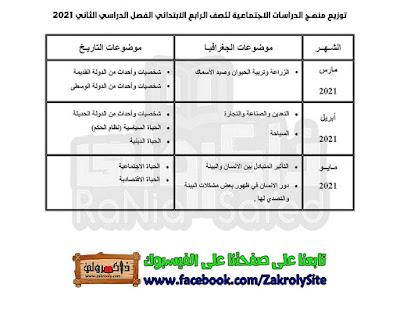 توزيع منهج الدراسات للصف الرابع الابتدائي 2021