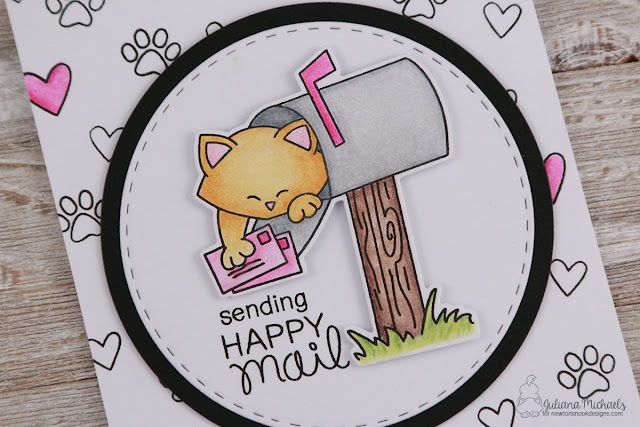 Sending Happy Mail Card by Juliana Michaels featuring Newton's Happy Mail Stamp and Die Set from the January 2017 Release
