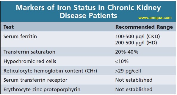 Markers of iron status and the recommended target ranges in CKD