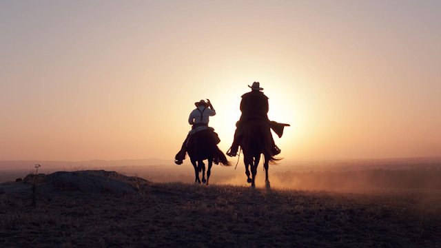 two horseback riders gallop toward the sunset
